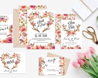 Printable wedding stationery kit: wedding invitation + rsvp, save the date, diner invitation, thank you card - Bohemian, Rustic, Floral