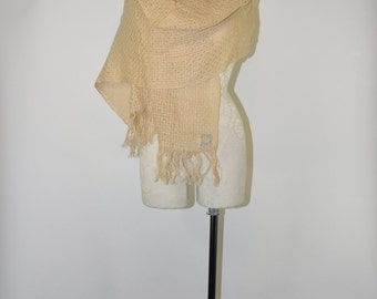 70s natural linen scarf / 1970s handwoven shawl / vintage raw fringe scarf