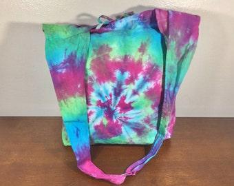 Cotton tie-Dye Purse, Bag, Hippie Bag, Summer Purse, Green,blue. Purple, Shoulder Bag