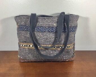 Mexican Blanket Purse, Falsa Bag, Gray, Yellow, Shoulder Bag, Tote Boho Bag