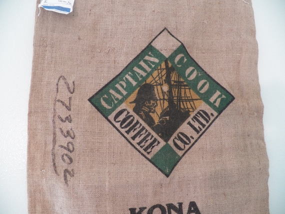 Kona Hawaii Coffee Burlap Bag Screen Printed On 2 Sides