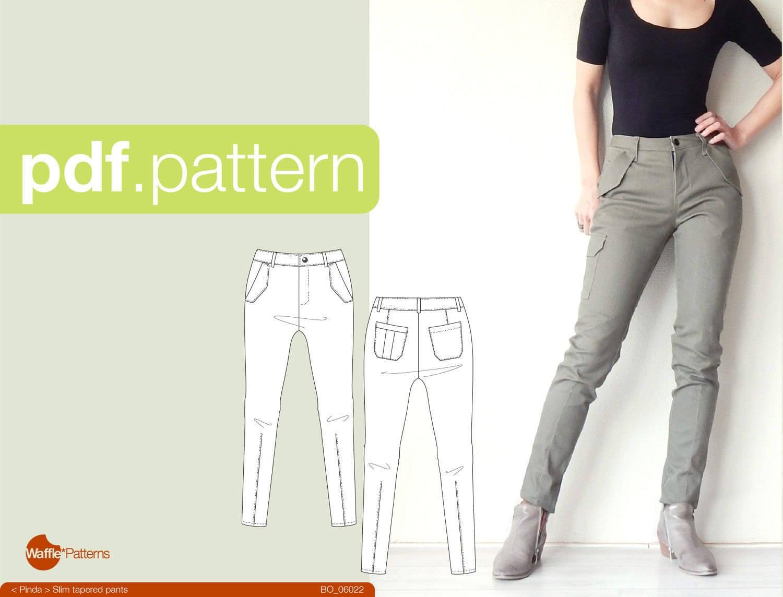 Patrón de costura PDF mujeres delgado afilado pantalones
