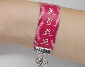 Ruler Bracelet, Tape Measure Bangle, Gifts for Quilters, Creative Tokens, Sewing Basket Idea, Unusual Presents for Crafters, Women Jewellery