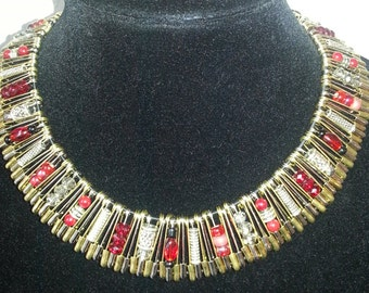 Safety Pin Necklace in Red
