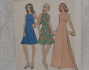 Simplicity 6329 Pattern Sleeveless Dress High Waist 2 Length Keyhole Neck Size 7JP Bust 32 Junior Petite Uncut Vintage 1970's