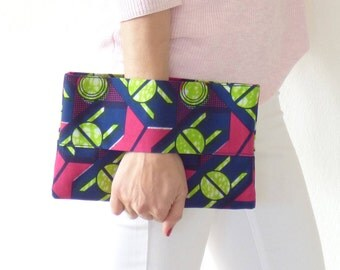 Wallet african fabric blue pink and green, wrist wallet, african clutch, ethnic clutch bag, pouch bag, purse,mylmelo, african wallet, France