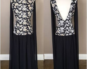 Vintage 80s Jessica McClintock Black Embroidered Sequin Evening Gown Dress Party