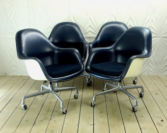 Herman Miller Eames Arm Shell Chair High Back Executive Rolling Casters Loose Cushion Mid Century Retro Modern Atomic
