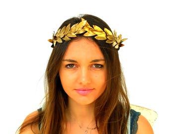 Gold leaf Crown, Gold Headband, Golden leaves Headpiece,  Greek Goddess, Flower crown, Woodland Hair Wreath, Holiday party