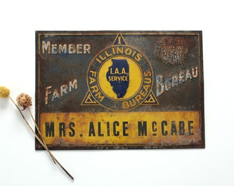 Vintage Illinois Farm Bureau member metal sign, old rusty sign, AFBF, farm house decor, rustic country home decor, blue and yellow tin sign