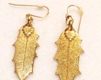 """Vintage Gold Tone Leaf  1.5"""" Dangle Pierced Earrings"""