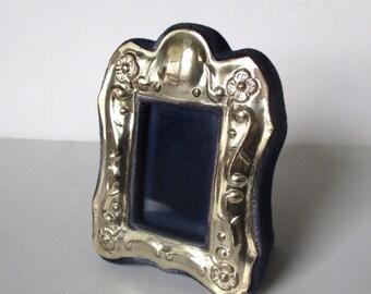 Vintage Sterling Silver Mini-Frame With Blue Velvet Trim