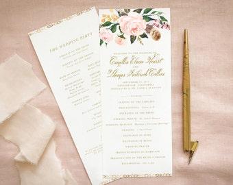 Rustic Floral Wedding Program in Blush Gold for Barn Wedding