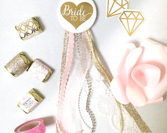 """2.25"""" Bride Pin White Gold  with glitter, lace, Assorted ribbons"""