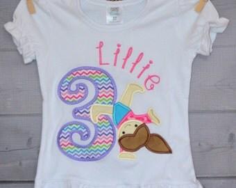 Personalized Birthday Gymnast Applique Shirt or Onesie Girl or Boy