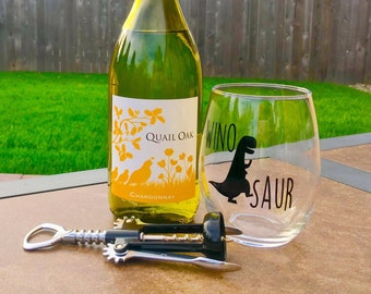 Winosaur Wine Glass // Dinosaur Wine Glass // Dino Wine Glass // T Rex // trex // Wine-o-saur Wine Glass // Dinosaur // Made in USA