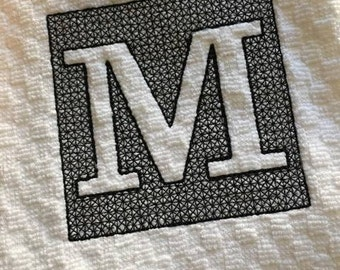 Embossed Square Alphabet - Towel Design - 2 Sizes Included - Embroidery Design -   DIGITAL Embroidery DESIGN