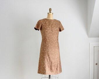 60s bronzed silk polka dot shift dress