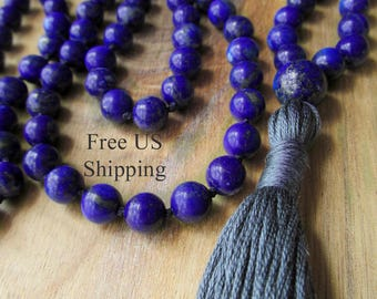 Lapis Lazuli Mala Beads, 108 Bead Mala, Mala Necklace, Prayer Beads, Yoga Jewelry, Japa Mala, Meditation,  Beaded Mala, Buddhist Prayer