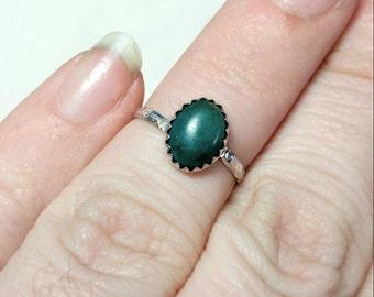 Ocean Blue Gemstone Ring   Chrysocolla Ring   Sterling Silver Ring Sz 5.5   Blue Green Gemstone Ring   Chrysocolla Jewelry   Rustic Ring