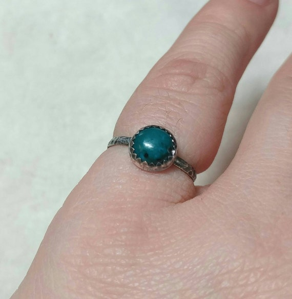 Rustic Blue Stone Ring | Sterling Silver Ring Sz 6 | Simple Blue Stone Ring | Chrysocolla Ring | Green Stone Ring | Rustic Stone Ring