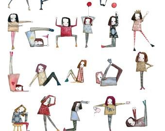 Minimie ABC yoga poster A4