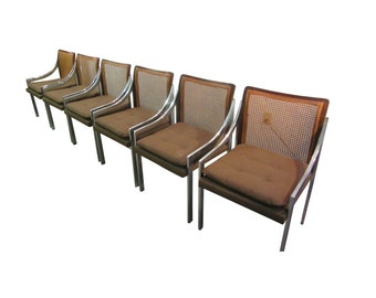 Set of 6 Mid Century Danish Modern Milo Baughman for Dillingham Cane Back Chairs