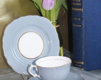 Colclough Harlequin Ballet  Blue Fine Bone China Cup & Saucer and Cake Plate Perfect for Afternoon Tea / Weddings c1950s