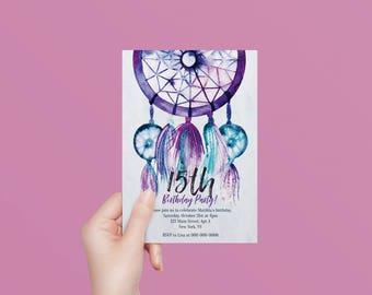 Dreamcatcher invitation, boho birthday invite, bohemian party, printable, (DP214)