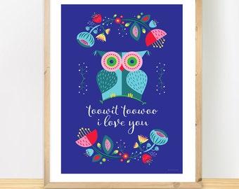 Scandinavian Owl Print, Nursery Owl Poster, Nordic Flowers, Colourful Nursery Art, Baby Shower Gift A3 print