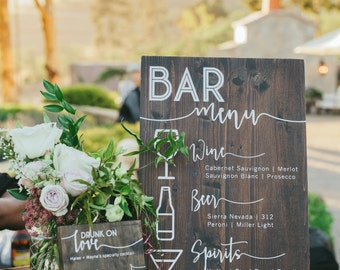 Custom Solid Wood Bar Menu Sign for Wedding, Anniversary or Party