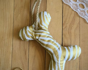 Gold Zebra Print Bone Dog Toy with Squeaker, Stuffed Dog Toy, Pet Toy, Cute Dog Toy, Colorful Dog Toy