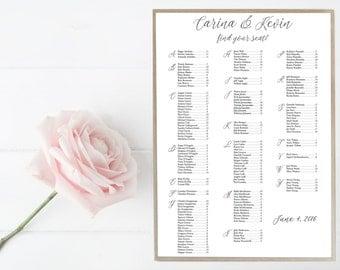Wedding, Bridal Shower, Special Occasion, Seating Chart, Guest List, Sign, Wedding, Black, White, Elegant, Simple, Decor, Custom
