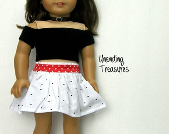 18 inch doll clothes made to fit like American Girl doll clothes black off shoulder crop top white skirt w/black dots and red belt