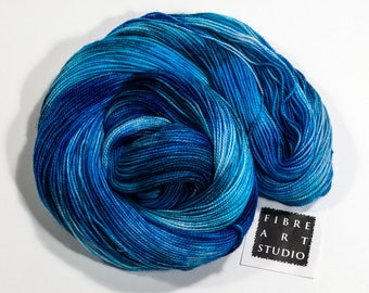 Hand Dyed Sparkle Sock Yarn | Blue Variegated Hand Dyed Yarn with Silver Glitter | SW Merino, Nylon, Stellina | Blue Yarn | Immersed in Blue