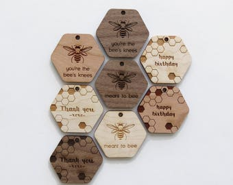 Wood Gift Tags - Pack of 8 - Assorted - Hexagon Gift Tags