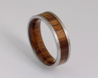 wood wedding band metal wood ring man jewelry woman wedding ring cocobolo wood