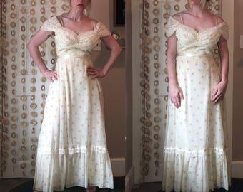 Vintage 70's BoHo GUNNIES Style Layered PRAIRIE CAPED Tiered Skirt Dress