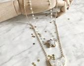 STARLIGHT - collier ras de cou, sautoir - collier long chaine - collier pierre, gemmes, quartz, drusy - cristal - hiver - or - lune, étoile