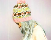 Knitted Hat  Fair Isle  Alafosslopi  Bobble Hat  Hat For Woman  Hat For Man  Unisex