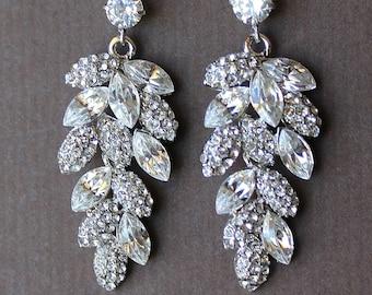 Bridal Crystal Chandelier Earrings, Crystal Leaf Earrings, SILVER or GOLD Earrings, Bridal Jewellery
