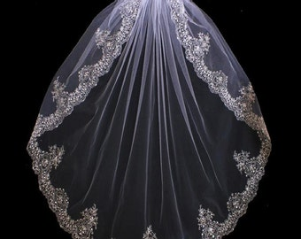Extravagant Beaded Silver Embroidery Fingertip, Chapel or Cathedral Length Wedding Veil