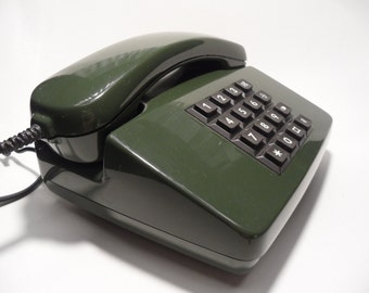 Button telephone,Vintage telephone,button phone,Vintage phone,dark green phone,old button telephone,push button phone,german phone