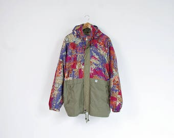 90s KWay khaki colorful rad packable windbreaker with hidden hood / Size L-XL