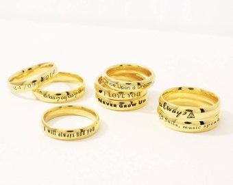 Personalized Ring, Custom Ring, Custom Quote Ring, Custom Name Ring, Custom Name Jewelry, Personalized Jewelry, Stamped Ring, Gold Ring