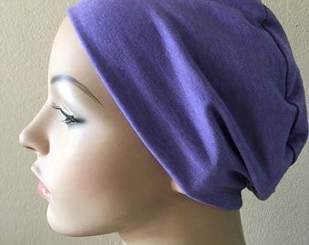 Purple Chemo Sleep Cap. Hat for woman suffering hair loss. Chemo Cap. Sleep Cap. Cancer Hat. Alopecia Hat. Beanie. Soft chemo hat. Head wear