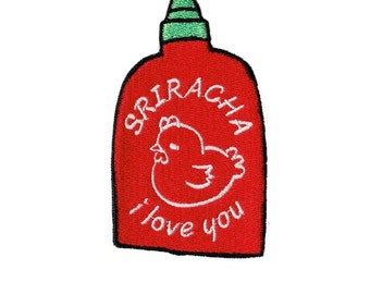 """2.6"""" I LOVE SRIRACHA hot sauce sew on IRON on patch Embroidered applique motif"""