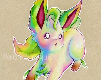 Colorful Leafeon art PRINT