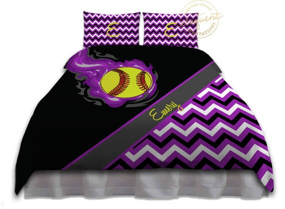 Girls Softball Bedding Purple Duvet Cover Softball Bedding