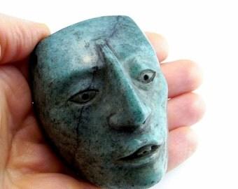 Pre Columbian Mayan Maskette Mayan Statue Mayan Pendant Mayan Jewelry Hardstone Mask Cameo Pre Georgian Post Olmec Ancient Jewelry Pectoral